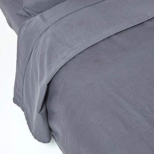 Homescapes Leinen Bettlaken Anthrazit Unifarben 178 x 225 cm Betttuch/Haustuch/Oberlaken Einfarbig Dunkelgrau Exklusive 100% Reine Baumwolle und Natur Französisches Leinen Flachs Mischung