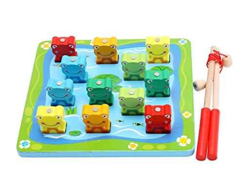 Yx-outdoor Juguete magnético Montessori para pesca infantil, juego de rompecabezas de rana de madera preescolar, regalos de Pascua (21,5 x 19,3 cm)