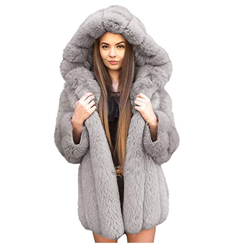 Limsea Women's Warm Jacket Solid Faux Fur Hoodies Solid Warm Winter Outerwear Shearling Fluffy Tops Tunic Gray