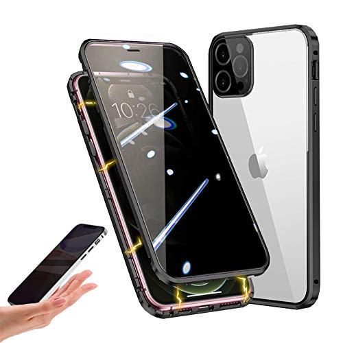 Privacy Magnetic Case Compatible with iPhone 12 Pro Max, Anti-peep Magnetic Adsorption Case, Front & Back Tempered Glass Full Screen Coverage, Thin 360 Full Protective Phone Case for 12 Pro Max,Black