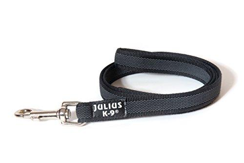 Julius-K9, 216GM-1,2 Color & Gray Gumierte Leine Schwarz-Grau 20mm*1,2 m mit Schlaufe, max. für 50 kg Hunde