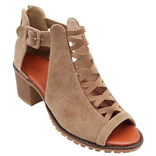 Gtagain Botines Romano Zapatos Mujer - Señoras Cuero Punta Abierta Zapatos de Tacón Medio Informal Oficina Trabajo Corte Botas Playa Verano
