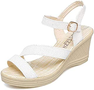 CHENDX New Summer Fashion Women's Sandals Comfortable Waterproof Platform Temperament Wedge with High Heel Buckle Women Sandals