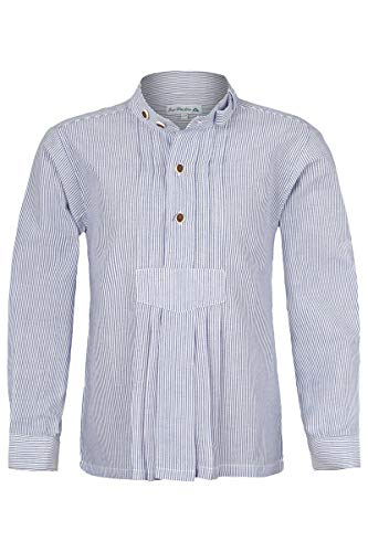 Isar-Trachten Isar-Trachten Jungen Kinder Trachten-Stehbund-Schlupf-Hemd mit Pfoad gestreift Marine, BLAU (Marine), 98