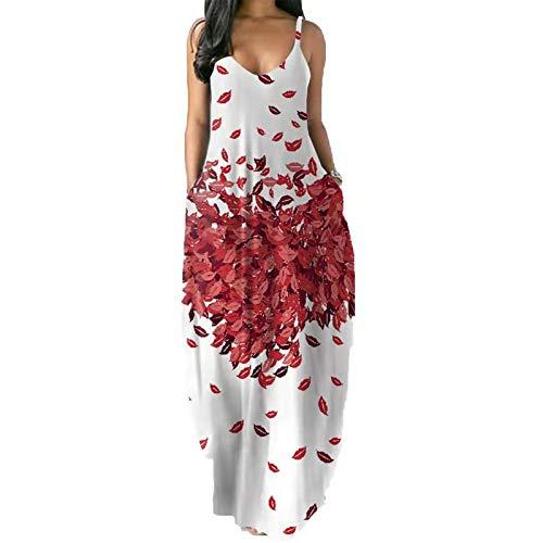 Vestido largo sin mangas de verano para mujer, estilo informal, con bolsillos