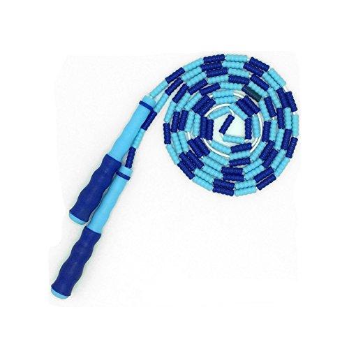Lemong Verstellbares Springseil für Kinder und Erwachsene, Regenbogen-Springseil mit Kunststoff-Perlen-Segmentierung, Kunststoff, mit Silikongriff, blau