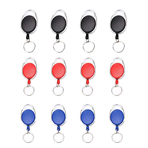 gotyou 12 Piezas Llavero Retráctil,Retractable Keychains Retractable ID Badges de Cinturon,Mosquetón de Carrete para Soporte de Tarjeta ID y Llave,Múltiples Colores(Negro, Azul, Rojo)