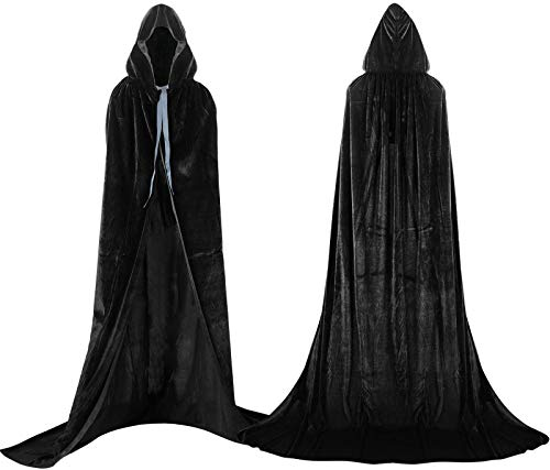 Capa unisex con capucha para nios y adultos, disfraz de Halloween para cosplay de Grim Reaper Vampire Wizard Cape Party Performance Fancy Dress Prendas (negro, XL)