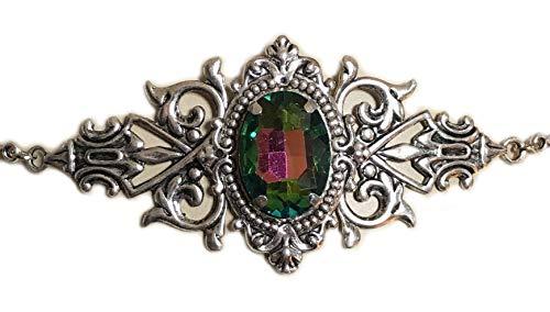 Silver Celtic Elven Queen Circlet Headpiece Headdress Crown Tiara Bridal Wedding Renaissance Medieval Halloween (Rainbow)