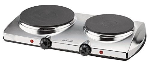 Brentwood Electric Double Hot Plate 1440-Watt, Pack of 1, Silver