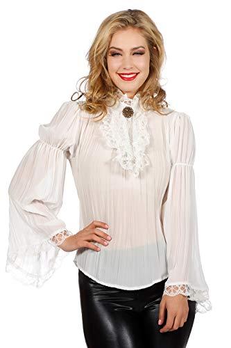 narrenkiste W4204A-36 Ecru-weiß Damen Piraten-Gothic Spitzenbluse-Rüschenbluse Gr.36