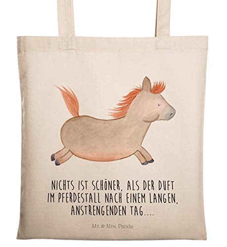 Mr. & Mrs. Panda Tasche, Einkaufstasche, Tragetasche Pferd springt mit Spruch - Farbe Transparent