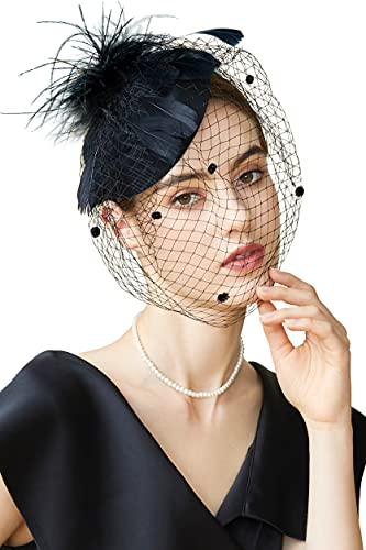 Coucoland Fascinatorhoed met veren, dames bloemen mesh elegant bruiloft fascinator haarband cocktail thee party accessoires