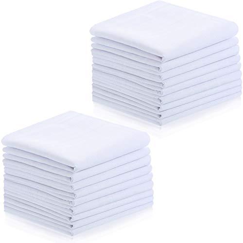 18 Pieces Mens Handkerchiefs, Soft Classic Mens White Hankie (40 cm)