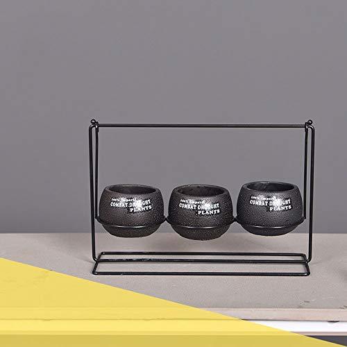 GLBS Fer Ciment Noir Cadre Décoration D'intérieur Pot De Fleurs Chambre Salon Ornement Chambre Simple Et Moderne Cache-Pot Nordique Office Européen De Bureau De Style Windowsill for Balcon Patio