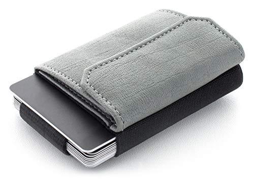 JAIMIE JACOBS Minimalist Wallet Nano Boy Pocket Mini Geldbörse aus Textil mit Zugband schmaler Kartenhalter für Herren und Damen (Vegan Grau)