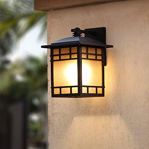 Tanktoyd Estilo chino Retro Aplique para exteriores E27 Decoración Linterna Luz de pared Lámpara de pared de vidrio esmerilado de fundición de aluminio impermeable se puede utilizar para patio Casa de