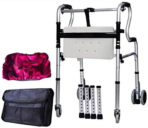 Ältere faltbaren Rollstuhl for Oma Opa GIF Faltbare Rollator Walker, Leicht Behinderte Rehabilitation Rollator mit Sitz, 6 Räder Abbremsbare höhenverstellbar for Erwachsene Senioren Disabl
