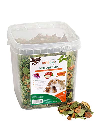 petifool Neujahrsmix 410g - Ergänzungsfutter für Nager - natürliches Nagerfutter für Kaninchen, Meerschweinchen, Hamster, Chinchilla & mehr - ohne künstliche Zusätze - 100% Natur - artgerechtes Futter