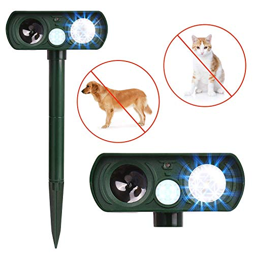 Humutan Ultrasonic Dog Repellent, Solar Powered and Waterproof PIR Sensor Repeller for Cats, Dogs and More