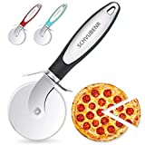 SCHVUBENR Premium Pizza Cutter - Stainless Steel Pizza Cutter Wheel - Easy to Cut and Clean - Super Sharp Pizza Slicer - Dishwasher Safe - Handles Large and Small Pizza - Corte De Pizza(Black)