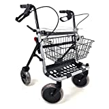 deambulatore 4 ruote pieghevole. rollator con freni dotato di seduta, cestino e porta bastone. girello da esterno per anziani.