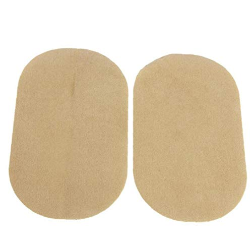 1 Pair PU Leather Oval Sew-on/Iron-on Patch Iron-on Repair Kit for Clothes Dress Plant Hat Jeans Sewing - Light Tan
