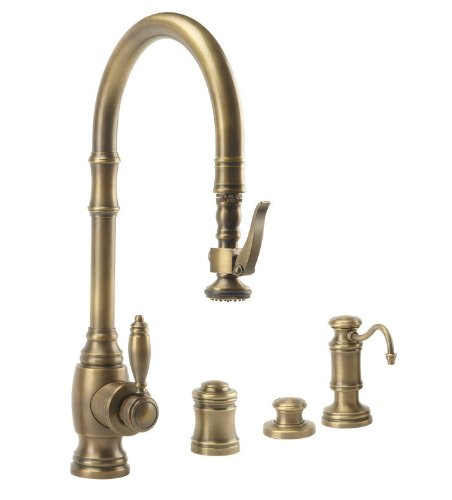 Great Price! Waterstone 5600-4-DAP Traditional PLP Pulldown Faucet 4pc Suite Distressed Antique Pewt...