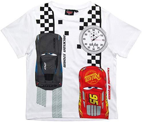 Cars Disney 2 T-Shirt 2016 Kollektion 92 98 104 110 116 122 128 Shirt Kurz Sommer Neu Lightning McQueen Jungen Weiß (98-104)