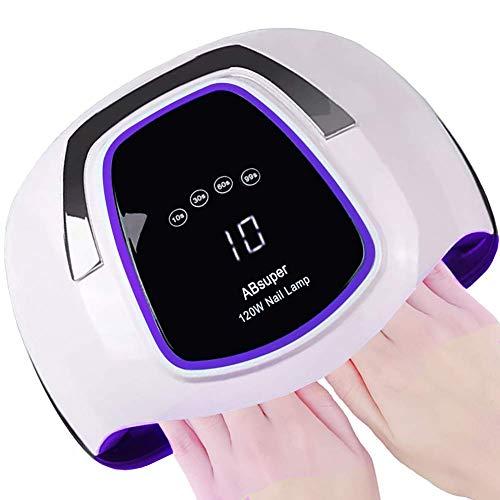 Upgrade 120W Nageltrockner, LED/UV Lampe für zwei Hände, Großer Platz für 10 Nägel/Zehennägel, Nagellampe mit 4 Timer, Touchscreen, Nagel-Werkzeuge mit Auto-Infrarotsensor, gel nagellack shellac set