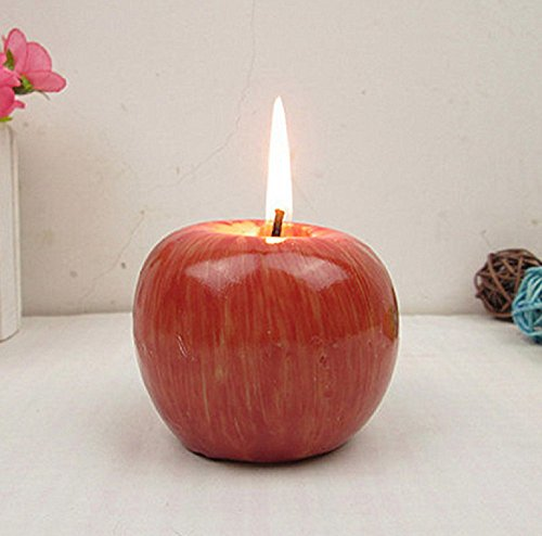 LRRH Red Apple Shaped Fragrant Candle Creative Romantic Wedding Birthday Xmas Party Home Decorations Artificial Apple Wax Candle(2PCS)