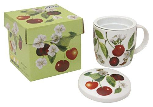 Excelsa Fruit&Relax Tisaniera con Filtro e Coperchio, Porcellana, More/Ciliegie/Ribes, Dimensioni: 12 x 12 x h.10 cm, 3 unità