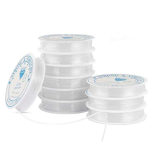 Elastisch Schmuckfaden Gummifaden, 10 Spule Nylonfaden 0.8mm Transparent Faden für Perlenschmuck Armbänder Basteln