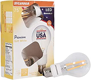 SYLVANIA General Lighting, Soft White, 4 Pack 40251 Sylvania 75 Watt Equivalent, A21 LED Light Bulbs, Dimmable, Color 2700K, Made in The USA with US and Global Parts, 4-Pack