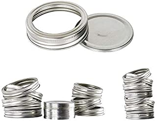 TYESMER 20pcs Wide Mouth Lids and Bands for Mason Jar,Canning Lids and Rings,Silver Mason Storage Split-Type Lids Leak Pro...