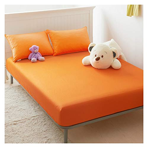 LJP Cotton Mattress Cover Not Easy To Pilling Breathable Comfort Mattress Protector Topper Cover Fade Resistant For Bedrooms (Color : Orange, Size : 150x200cm)