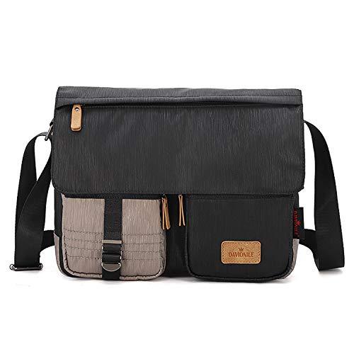 FANDARE Unisex Umhängetasche Schultertasche mit USB-Ladeanschluss Crossbody Bag für 14 Zoll Laptop Herren Damen Messenger Bag für Reise Schule Hochschule Arbeit Outdoor Schulranzen Schwarz