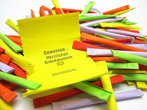 Tombola - Regenbogenlose Gewinnaussage: Gewonnen, 100 Stück, bunt gemischt