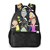 NiYoung Casual College School Daypack, Large Capacity Daypack for Gym Travel Running, Trippy Rick-and-Morty Cartoon Art Travel Hiking Backpack for Girls Boys - Back to School Gift