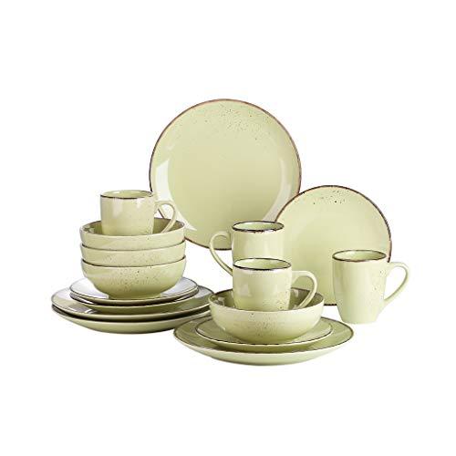 WZHZJ Conjunto de vajillas de cerámica de gres de 16 Piezas con Placa de Cena, Placa de Postre, tazón de 800 ml, Conjunto de Taza de 380 ml