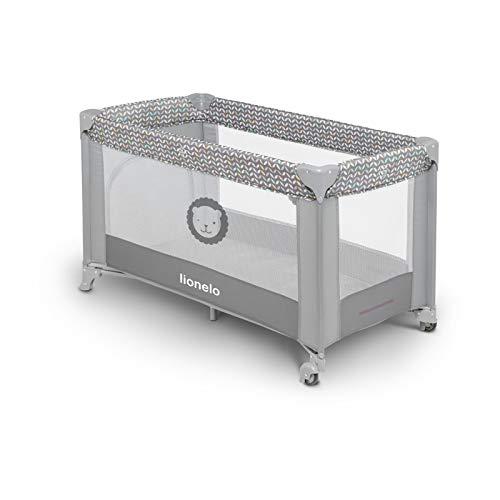 Lionelo Adriaa Baby Bett Laufstall Baby Reisebett Baby ab Geburt bis 15kg Seiteneingang Lockguard System und Blockade der Räder Moskitonetz Tragetasche zusammenklappbar (Grau) - 3
