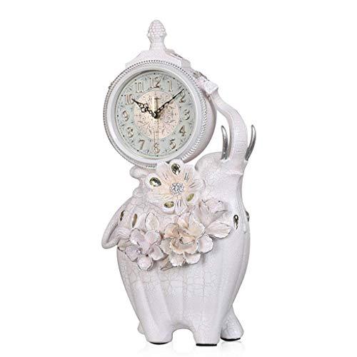 Yeeseu Relojes de la familia retro, elefante Europea muda resina de la decoración del dormitorio de la decoración del reloj del escritorio de noche adecuado for vivir y la oficina dormitorio (color: b