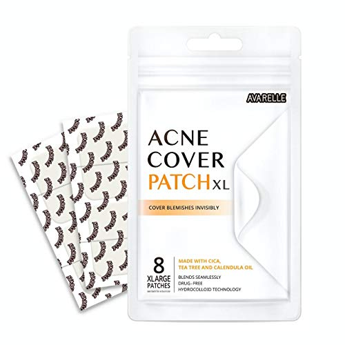 Avarelle Acne Pimple Patch (8 Count) Absorbing Hydrocolloid Spot Treatment with Tea Tree Oil, Calendula Oil and Cica, Vegan, Cruelty Free Certified (XL Square / 8 PATCHES)