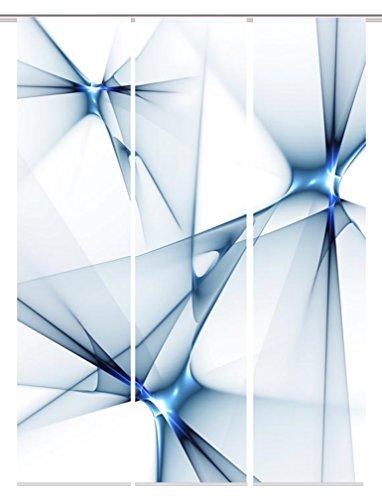 Home Fashion 88983–106Franklin Impresión Digital Panel, blickdichter Tela Decorativa, 3Unidades, plástico, Azul, 245x 60x 245cm