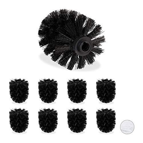 Relaxdays Set de 9 Cepillos de Recambio Escobilla WC, Baño, Cabezal Repuesto, Plástico, 12 mm de Rosca, ⌀ 7 cm, Negro