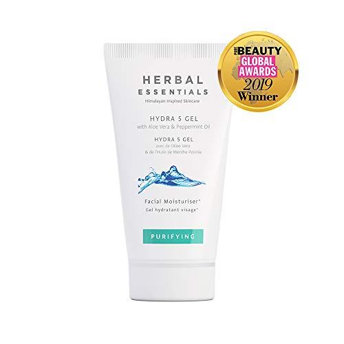 Herbal Essentials Gel Hydra 5 avec l'aloe vera et l'huile de menthe poivrée, aide à contrôler l'excès de sébum, nettoyage quotidien de votre peau, Soins haut-de-gamme50ml