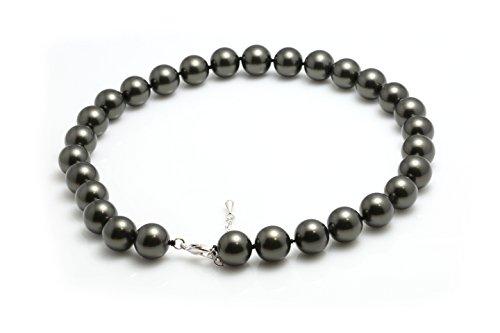 Schmuckwilli Damen Muschelkernperlen Perlenkette aus echter Muschel dunkel grau 45cm 14mm mk14mm027-45