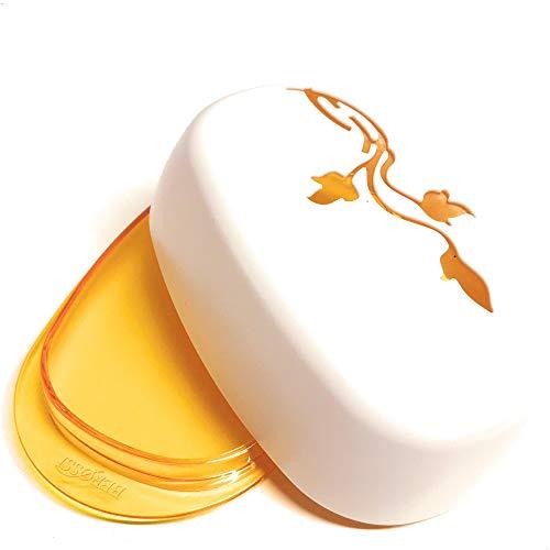 Berossi - Burriera in plastica arancione con coperchio, motivo floreale, senza BPA, per frigorifero, plastica, burro, burro, in plastica, girevole, piatto da portata