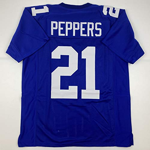 Unsigned Jabrill Peppers New York Blue Custom Stitched Football Jersey Size Men's XL New No Brands/Logos