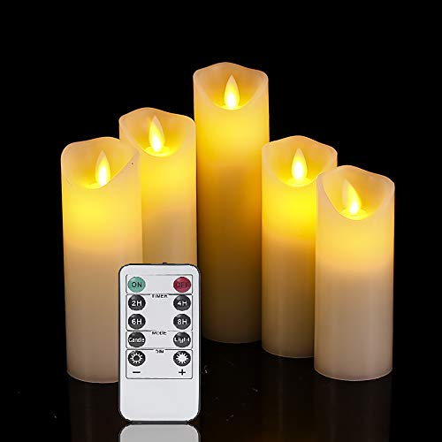 OSHINE flameless Candles,Battery Candles,LED Candles 5'6'7'8'9'H(2.2'D) Moving Flickering Flame with Remote Control and Timer Wax Column   Bathroom, Kitchen, Home Decoration